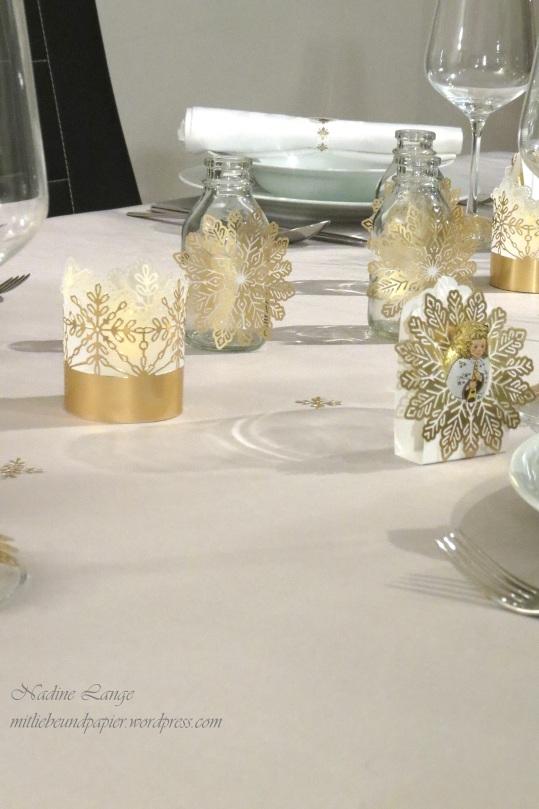 Stampin' Up! Berlin DIY Tischdeko gold weiß Weihnachten Flockenreigen Metallicschneeflocke Gastgeschenke Teelichter 5 mitliebeundpapier.wordpress.com