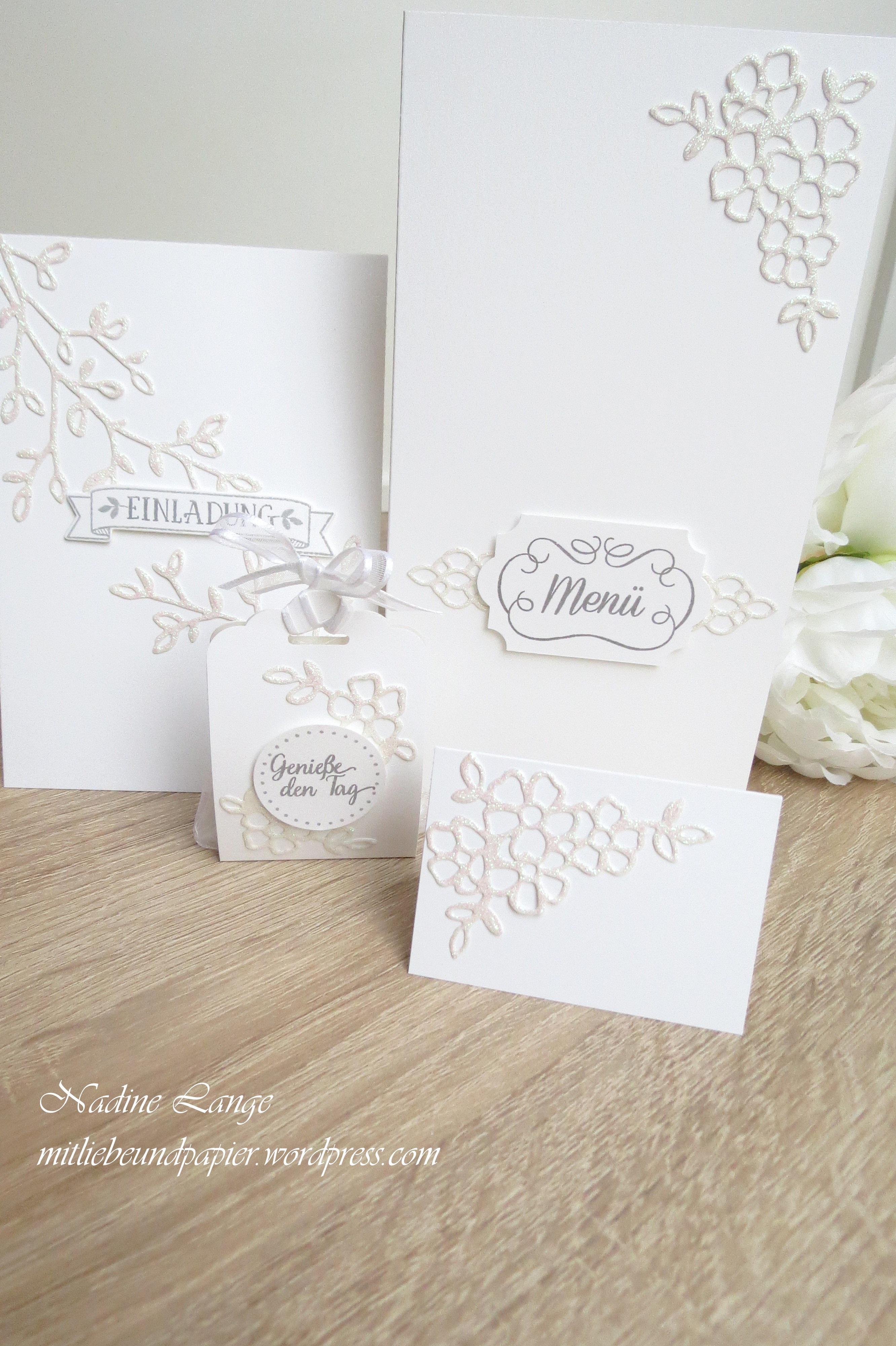 Hochzeitsideen Mit Liebe Und Papier Selber Gemacht U2013 Teil 1: Edel In Weiß  Glitzer (Stampinu0027 Up! Blütentraum)