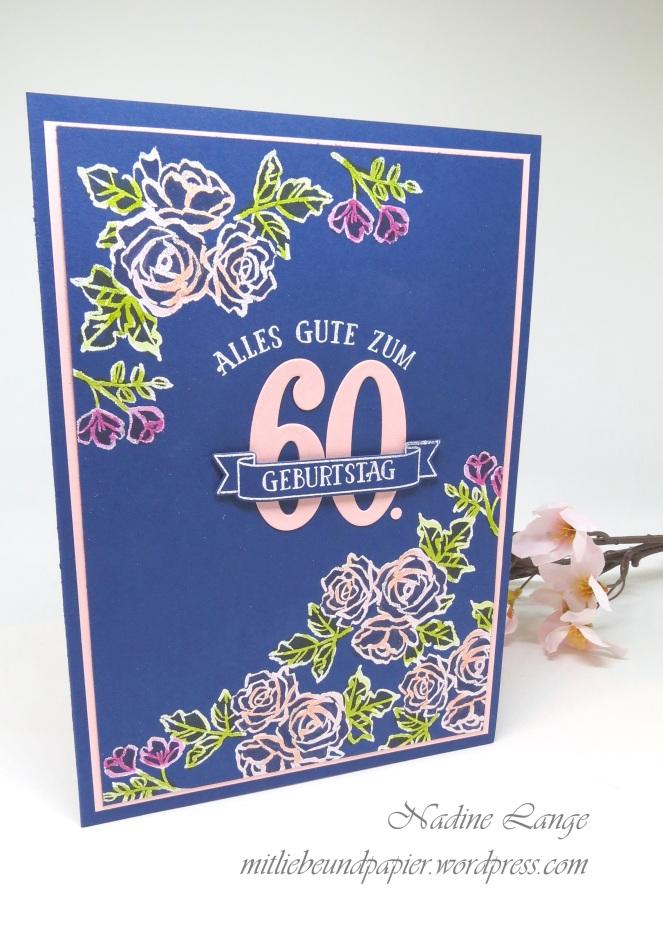 Karte 60 Geburtstag.Grosse Karte Zum 60 Geburtstag Stampin Up Blutentraum