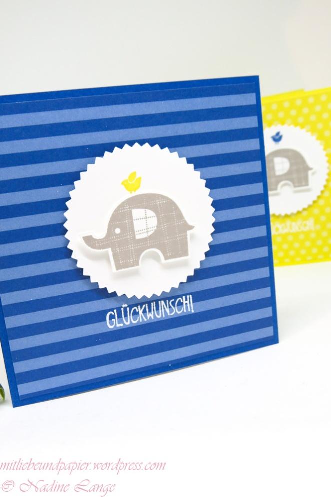 Stampin' Up! Berlin Elefantatstisch Karte Kind Geburt Geburtstag Anleitrung schnell gemacht 3 mitliebeundpapier.wordpress.com